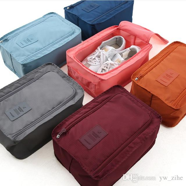 Convenient Travel Storage Bag Nylon 6 Colors Double Layer Portable Organizer Bags Shoe Sorting Pouch multifunction lp0047