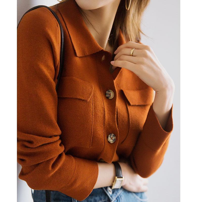 Escudo del suéter de las mujeres del resorte de la solapa de caramelo doble bolsillo abrigo de lana de punto de las mujeres