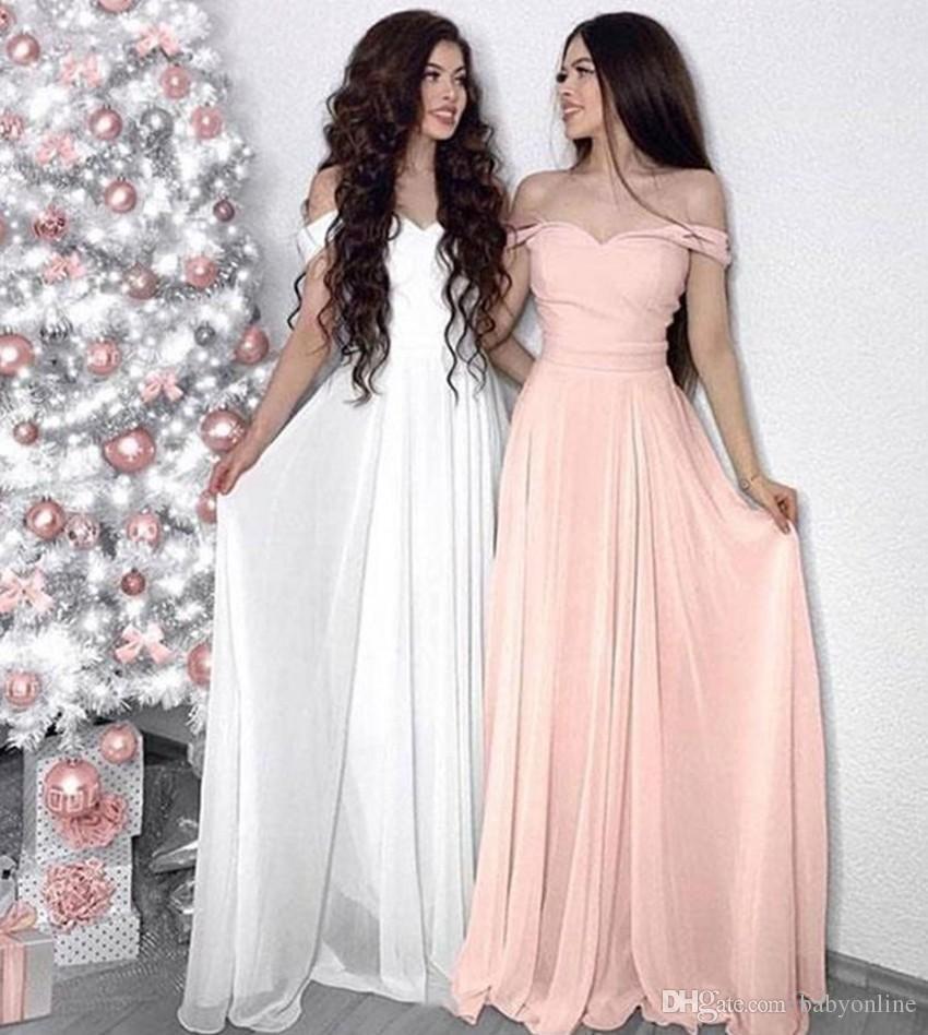 Damas de honra do casamento árabe vestidos 2019 elegante A linha do ombro plissados longo maid of honor vestidos feitos sob encomenda