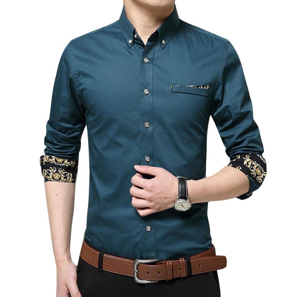 Al por mayor delgado de la manga Marca hombre camisas del diseñador de alta calidad sólida Hombre Ropa Fit comerciales camisas más 5XL
