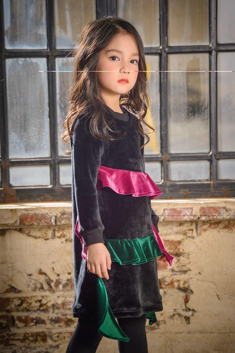 Per bambini I bambini vestiti del vestito vestiti dalle ragazze Inverno Abiti a maniche lunghe Moda bambino della ragazza ha ispessito Silver Fox 5 p / l
