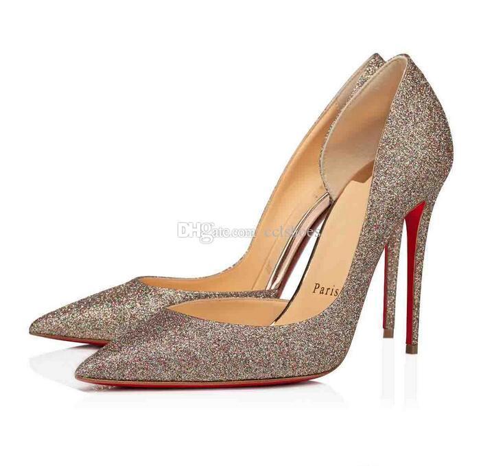 Exquisite Schwarz Nude Lackleder Glitter Frauen rote Unterseite Iriza Schuhe, Italien Luxus-rote Sohle-Absatz-Side-freie Partei-Kleid Wohnungen / High Heels