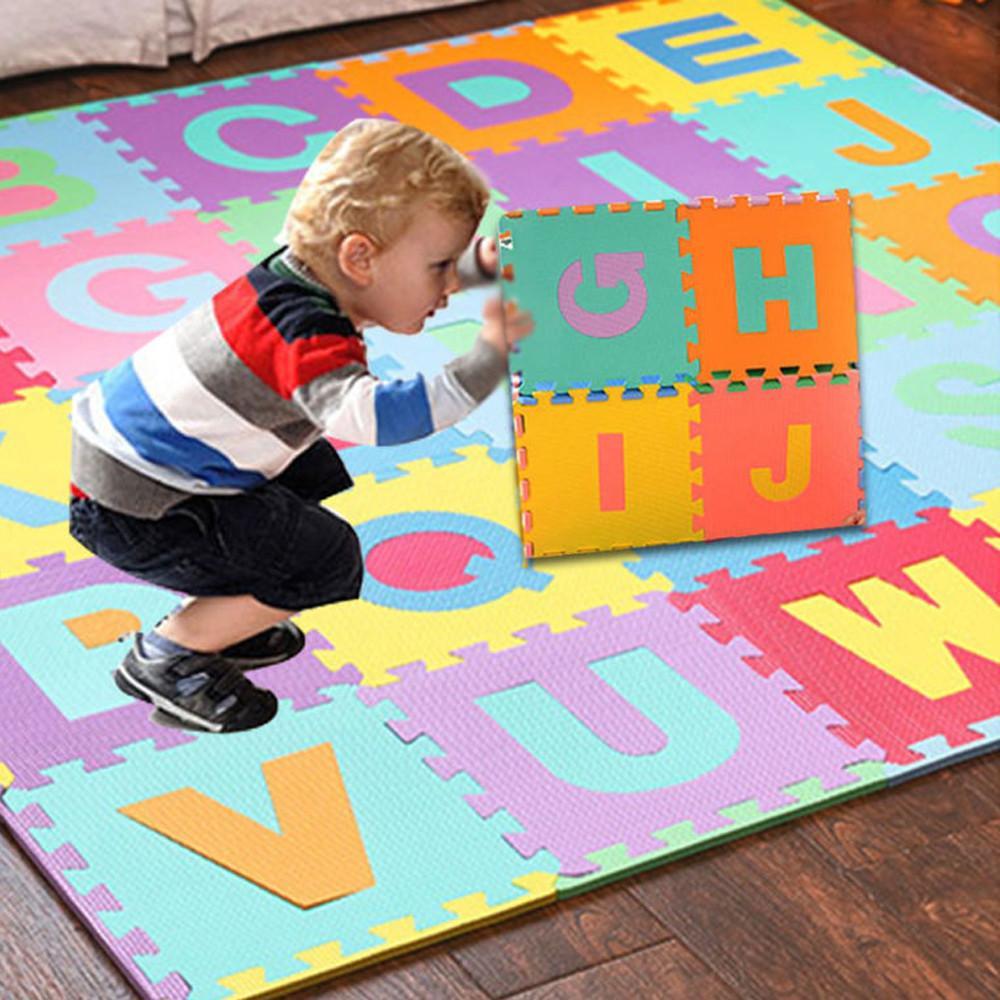36pcs / mousse EVA Numéro mis Alphabet Puzzle Tapis de jeu pour bébé Tapis Jouets Jouer Moquette Interlocking Soft Pad Enfants Jeux Toy
