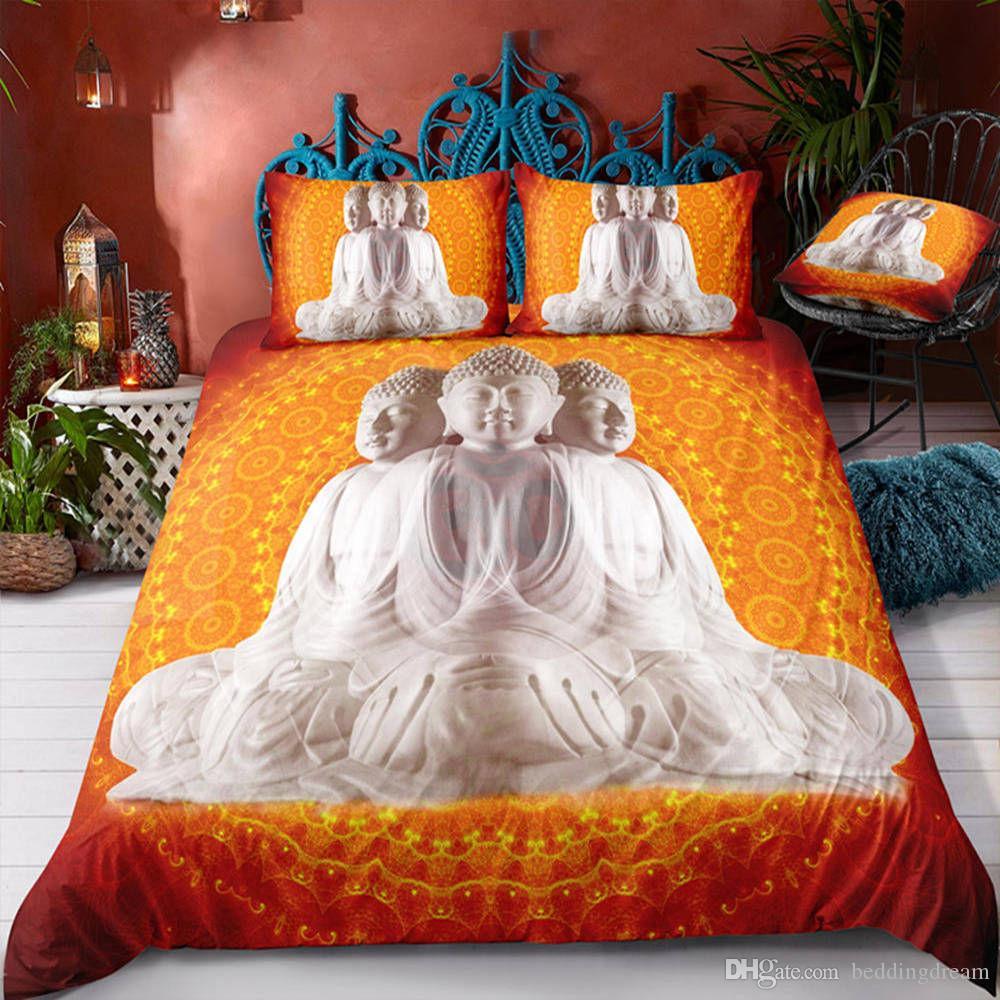 Çok yönlü Buda Yatak Seti Kral Portakal Kutsal Şık Nevresim 3D Tek Ev Aralık Kraliçe Çift Seti ile Yastık 3pcs Yatak