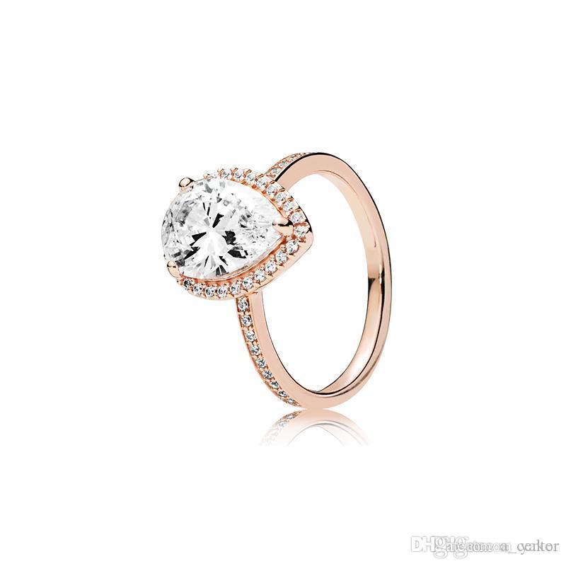 NEW Tropfen CZ Diamant 925 Silber Ehering Original Kasten für Pandora 18K Rose Gold Wassertropfen Ringe Set für Frauen