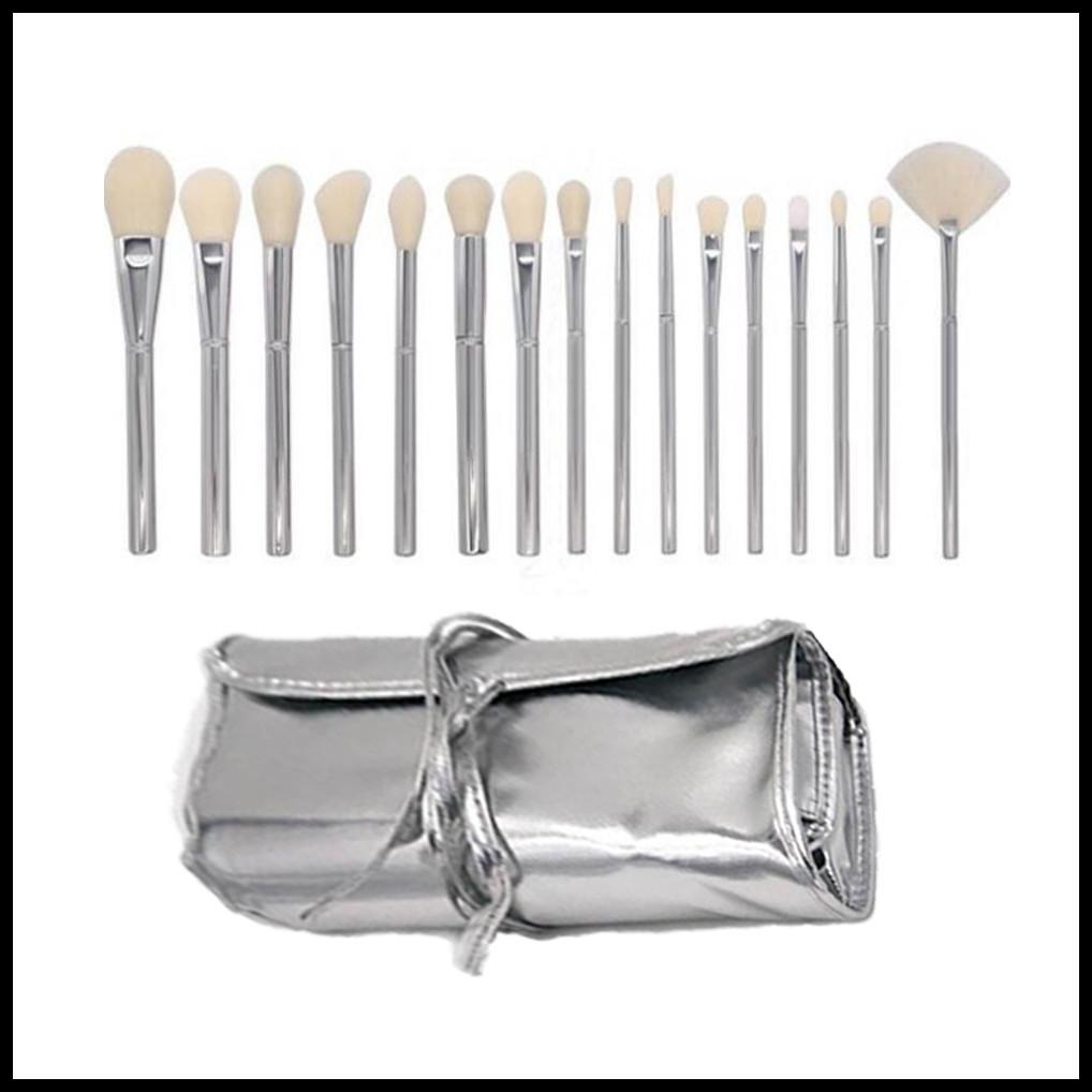 EPACK Silver Tube Brush 16pcs set Makeup Brushes Jenner Silver Tube Brush 16pcs set with bag Makeup Brushes for Valentine's Day Gifts