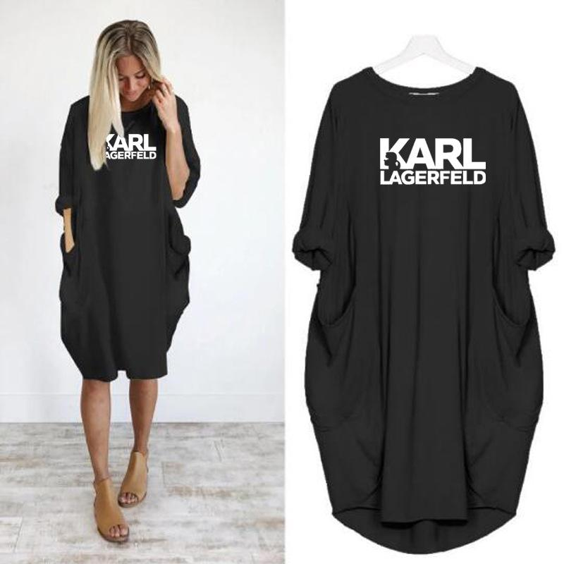 2019 женщины Карл повседневная свободные платья письмо весна осень большой размер 4xl 5XL плюс размер одежды платье