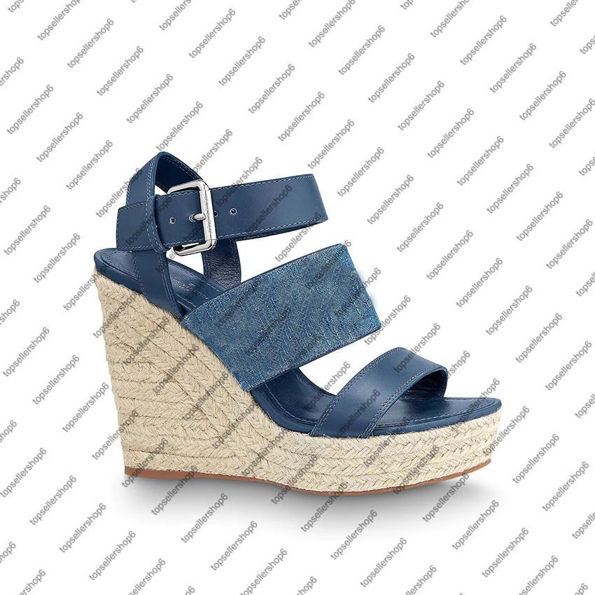 يمنى إسفين صندل المرأة منصة صندل قماش قماشية الأزرق 12CM عالية صندل كعب محفورة مشبك المطاط تسولي الأحذية