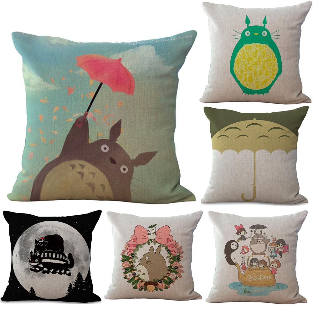 Watercolor My Neighbour Totoro Neck Body Pillowcase Linen Bed Pillows Cover Couch Seat Cushion Throw Pillow Home Decoration Gift