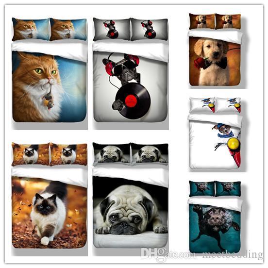 Mordern conjunto de cama de solteiro duplo king size tecido de microfibra capa definir animais série 2/3 pcs 3d cat dog edredon conjunto de capa