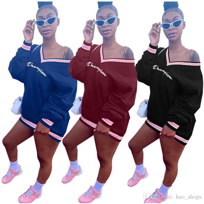 Champions Женщины Письмо толстовки с длинным рукавом V-образным вырезом платья Толстовка Осень Дизайн Hoodie пуловер Мода рубашки платья девушки фуфайки XL