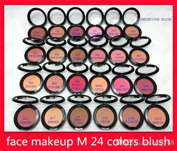 ÜCRETSIZ NAKLIYE Yeni M Yüz Makyaj 6g Sheertone Allık preslenmiş toz paleti 24 Farklı Renkler Allık