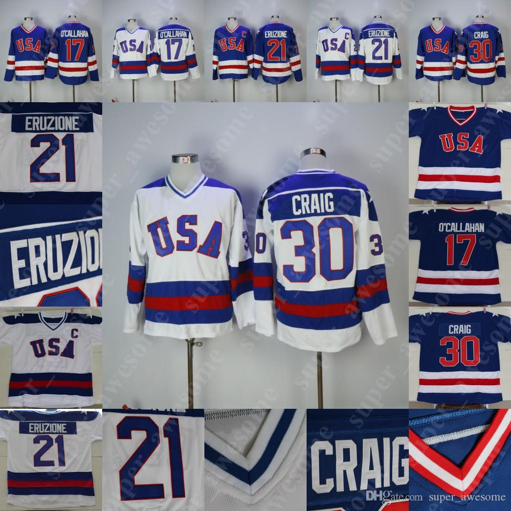 1980 EUA Hockey Team Jersey 30 Jim Craig 21 Mike Eruzione 17 Jack O'Callahan Hockey Jerseys Azul Branco costurado