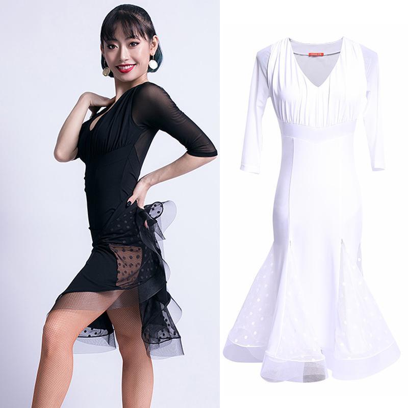 2019 Nuevo Vestido de Baile Latino Mujeres Sexy Malla con Cuello En V Salsa Sopa Cha Cha Rumba Prendas de Vestir Salón de baile Samba Salsa Danza Desgaste DL3582