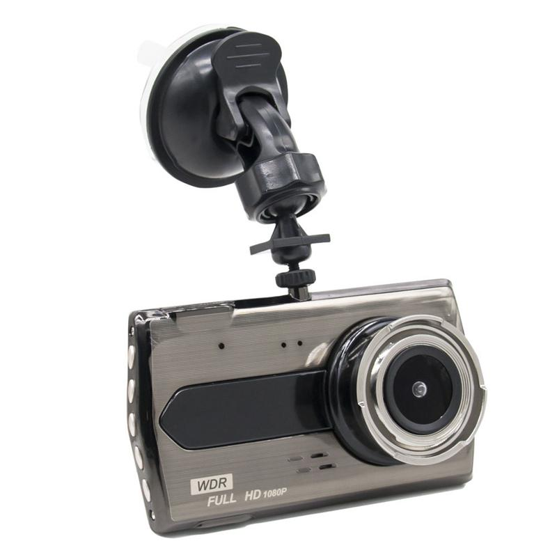 """Full HD car DVR safety driving recorder car video camcorder 4"""" screen 2Ch dual lens 170° wide angle night vision G-sensor parking monitor"""