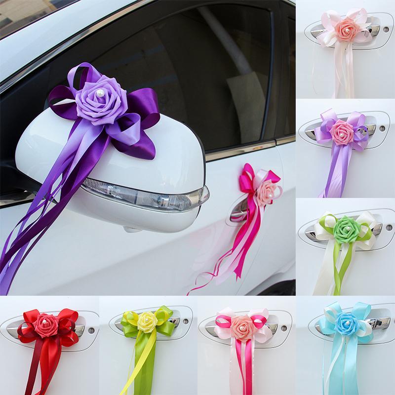 Vendita 1pz Bellissime auto per matrimonio Fiore nodo Maniglie per porte Decorazioni per specchietti retrovisori Forniture per festival