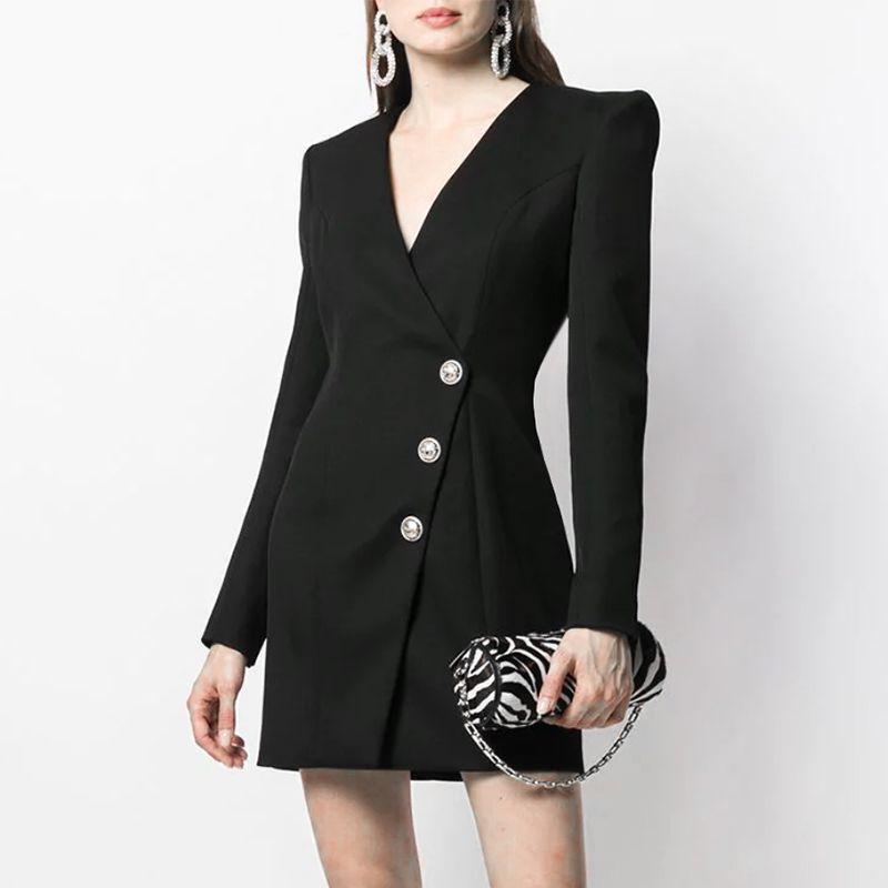 2019 осень черный сплошной цвет кнопки короткие мини с длинным рукавом V шеи мода взлетно-посадочной полосы платья Vestidos 9N8YDY9D