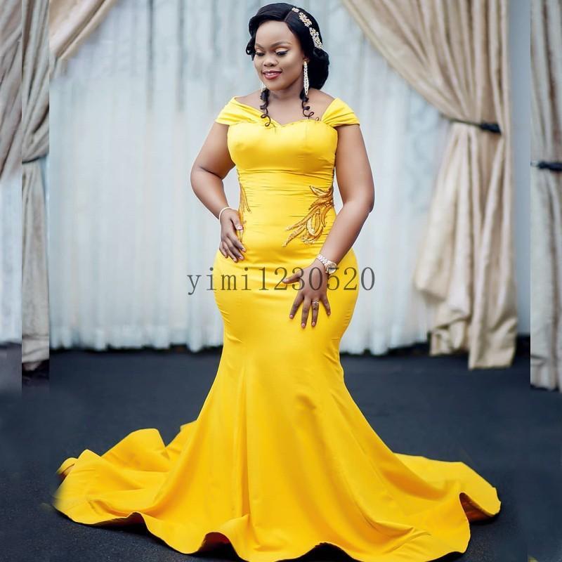 Amarillo más el tamaño de la sirena vestidos de baile Off hombro barrer de tren apliques de fiesta largo de noche formal de los vestidos de trajes de soirée personalizada