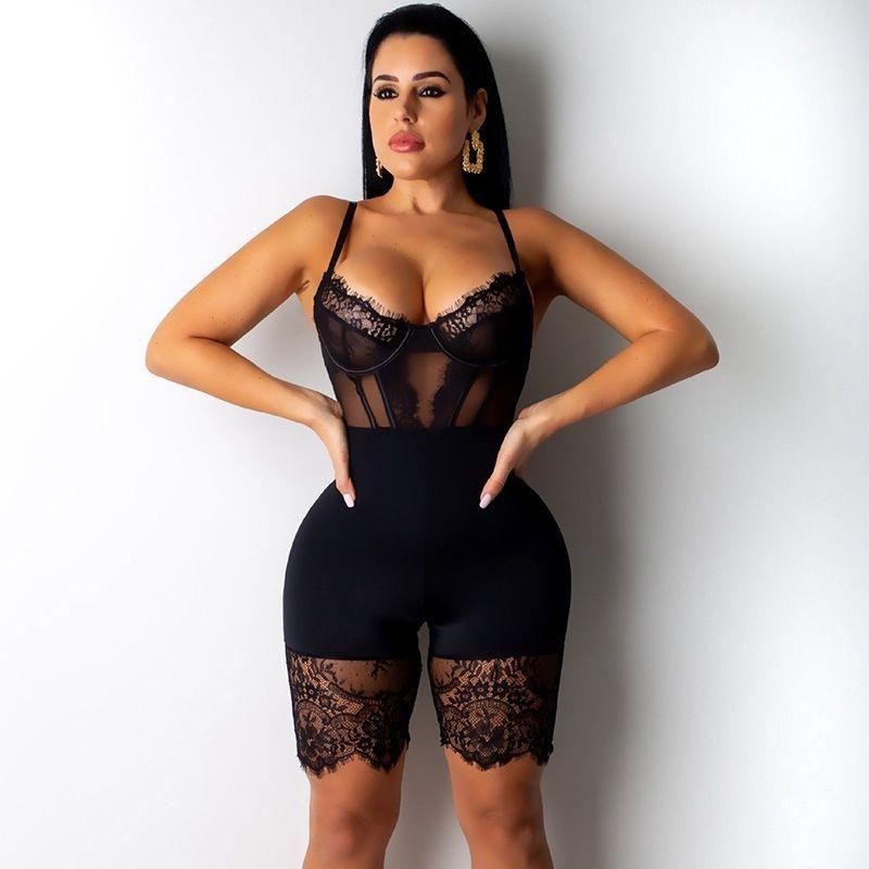 2020 Sexy de encaje mono de las mujeres sin espalda mameluco negro Bodycon mono trajes elegante flaco fiesta Club mono corto Playsuit Y200422