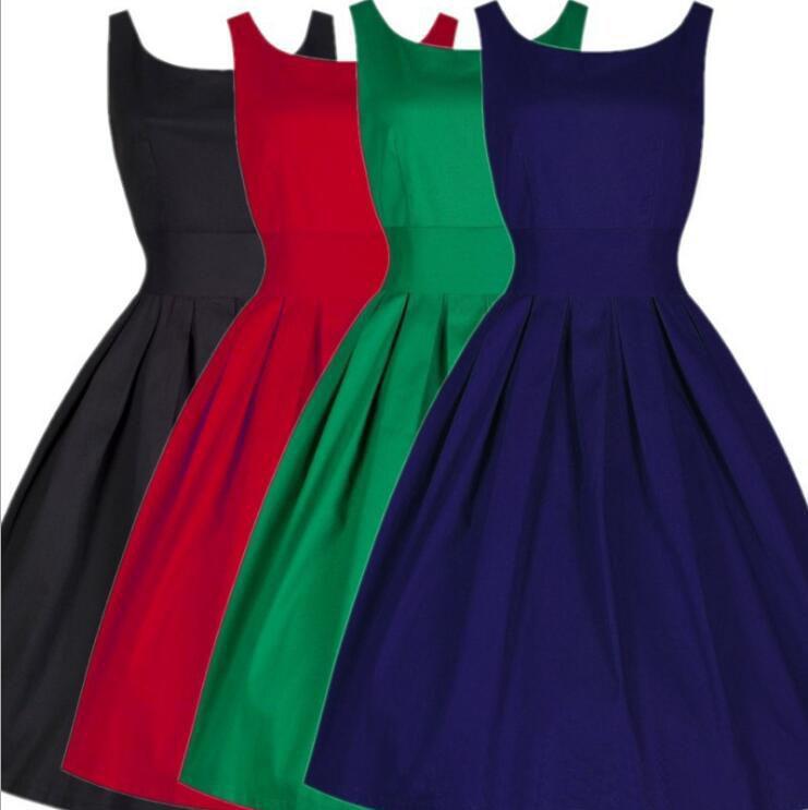Women Dress Black Red Summer Audrey Hepburn 50s 60s Vintage Dresses Vestidos Plus Size Rockabilly Party Dress S-5XL