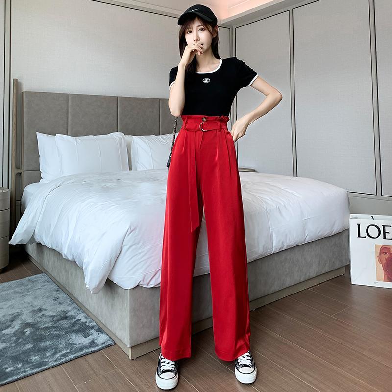 2020 New Moda feminina Corpo Inteiro Casual Calças Mulheres Verão Pantalon solto OL terninho mulher Calças formal com Belt WP193