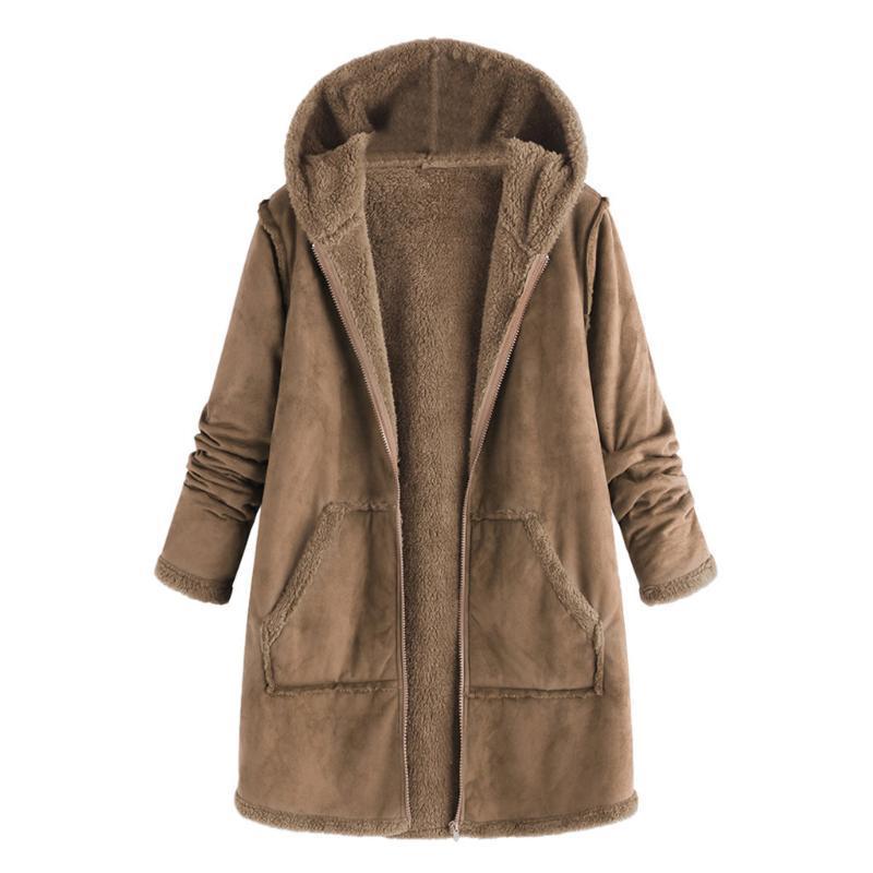Cappotto delle nuove donne supera di tasca di modo di autunno di inverno della peluche con cappuccio a maniche lunghe cappotto caldo rivestimento delle donne di alta qualità cappotto camicetta