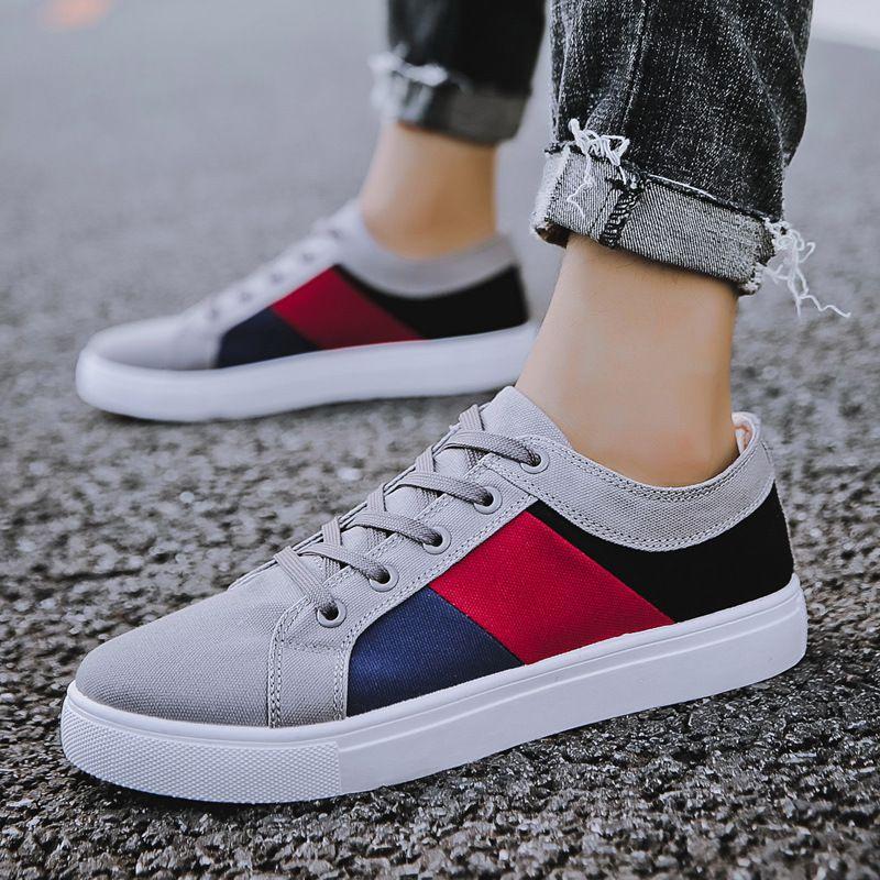 Más baratos nuevos calzados informales de los hombres del otoño del resorte zapatos casuales para hombre de la lona para los hombres con cordones de los zapatos de los holgazanes planos CX200623