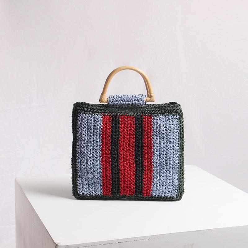 Straw gewebte Tasche weiblicher in 2010 neuen tragbaren schönen Fee Streifenhandtasche Urlaub am Meer Strand