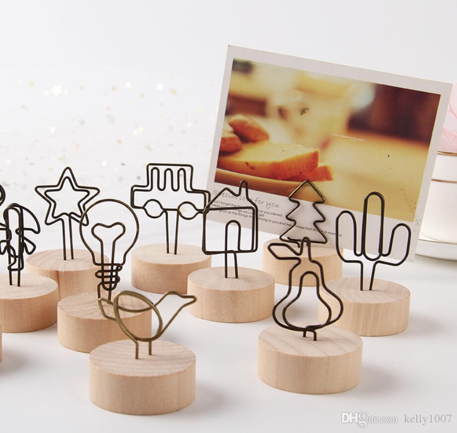 Wood Stand with Clip Wedding Wooden Photo Clip Card Holder Table Stand Number Memo Stand