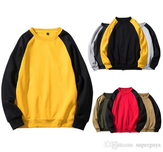 Pamuk Erkek Kazak Polar Kazak Nedensel Erkek Hoodies Uzun Kollu İlkbahar Sonbahar Kış Sweatershirt olmayan Kapüşonlu Streetwear AB boyutu WY40