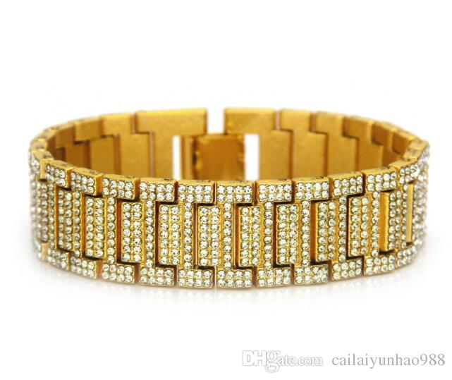 14k banhado a ouro hip hop rap domineering pulseira de diamantes de água pulseira de relógio pulseira de bambu
