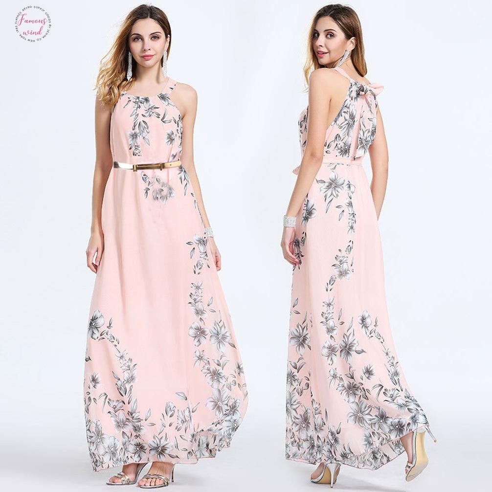 2020 Moda Kadın Yaz Casual Çiçek Elbise Boho Cap Sleeve Şifon Kolsuz Akşam Parti Uzun Maxi Elbiseler