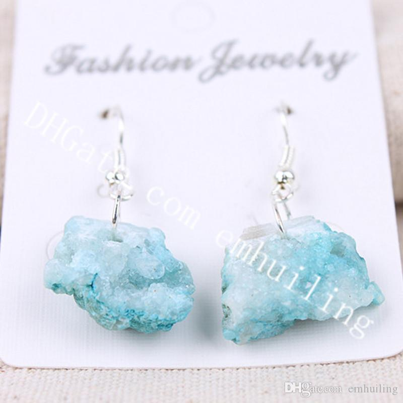 10Pairs 10-25mm Freeform Dyed Color Brazilian Agate Druzy Geode Earrings Raw Rough Drusy Quartz Crystal Cluster Dangle Statement Earrings