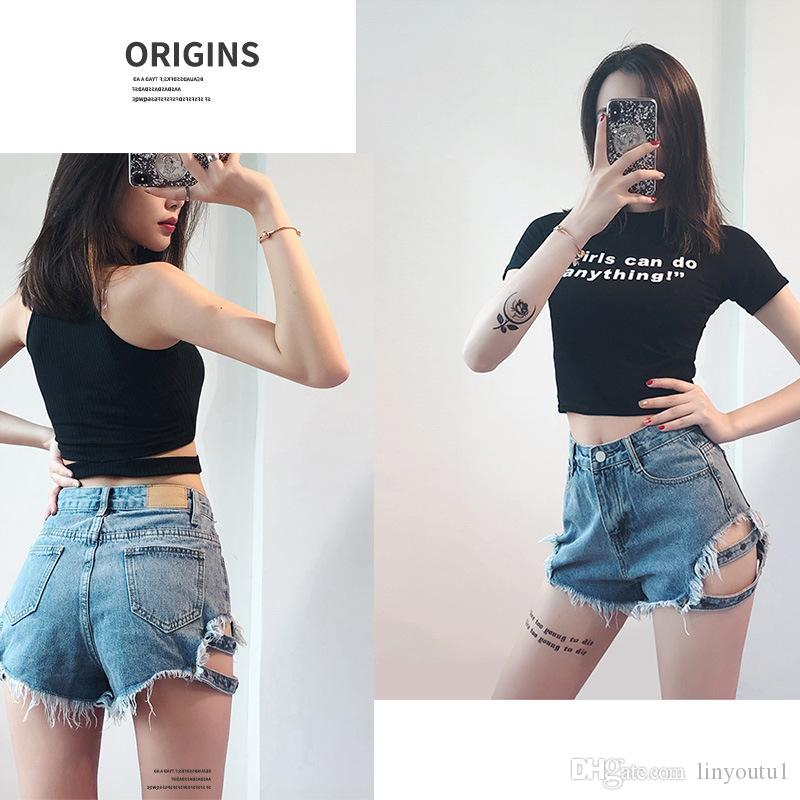 Streetwear Denim Shorts For Women 2019 Summer High Waist Ripped Cool Blue And Black Shorts With Tassel Pockets Mini Short Jeans