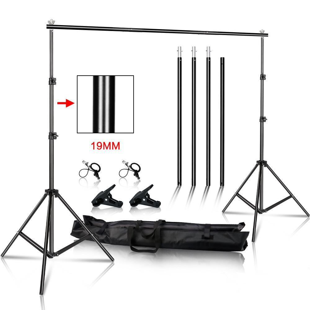 Photo Video Studio Backdrop Photographie Arrière-plan stand Muslin Photo Canvas Cadre support système avec sac de transport T200610