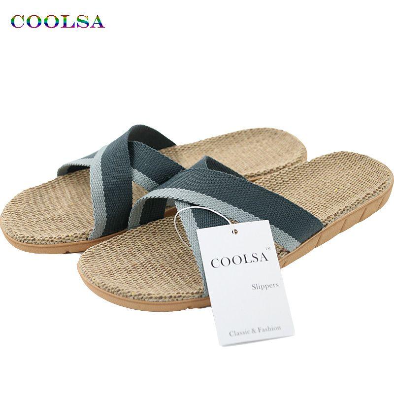 Caliente nuevo verano de los hombres de lino flip-flop lienzo de lino antideslizante Diseñador sandalias planas Inicio Zapatillas hombre de la manera Diapositivas de zapatos casual de paja