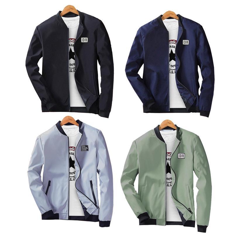 2019 Primavera Autunno Casual Solid Slim Bomber Jacket Men Fashion Overcoat Giacche da baseball Giacca da uomo di Streetwear