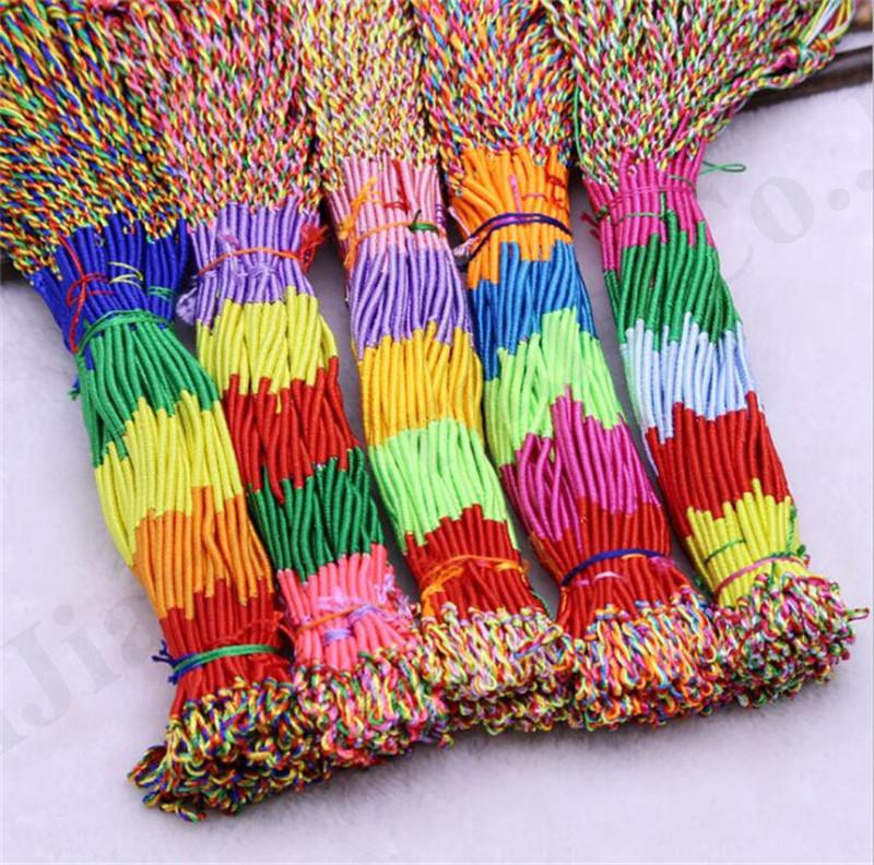 Rope Bracelet Couples Colored Cord Handmade Bracelet Bangle 100Piece Colorful Women Men DIY Tassels Brace Wristband Braid Strands A121201