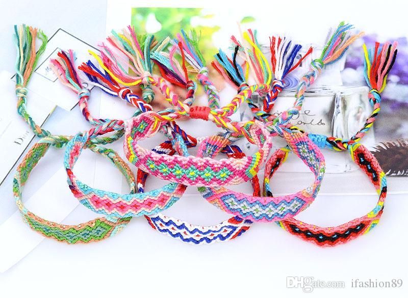 Vsco Woven Bracelet for Girl Women Handmade Rope Hit Color Exotic Wind Pattern Rainbow Bracelet Lucky Friendship Bracelet DHL Free