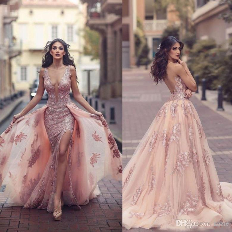 Saudi Arabic Blush Pink Evening Dresses with Detachable Train Sheer Illusion Bodice Lace Applique Mermaid Long Side Split Prom Dress