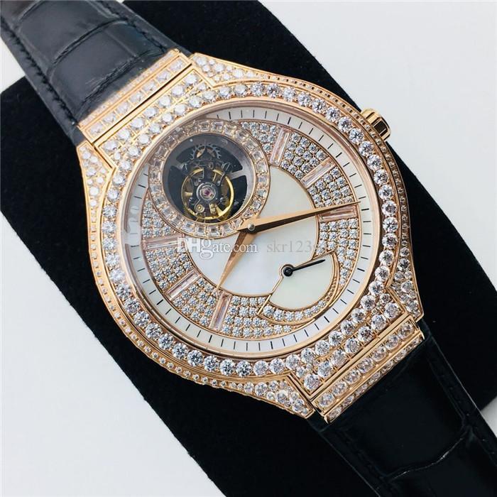 verdadera volante reloj de la exhibición de almacenamiento de energía posición 46MM18K diámetro oro y diamantes punto tourbillon movement.6 Cal.600P fábrica R8