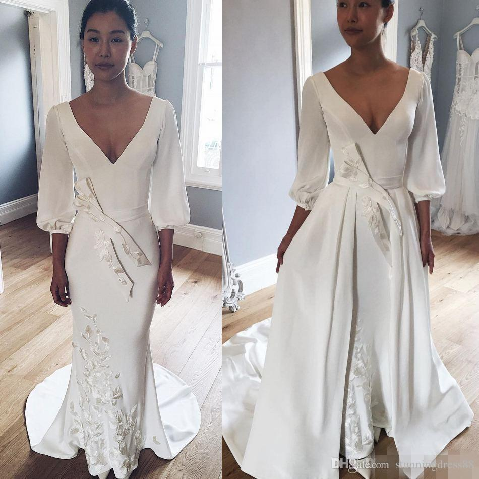 Vintage wedding dresses With Detachable Skirt V neck Long Sleeves Satin Lace Bottom Wedding Dress Bridal Gowns Cheap Custom Made