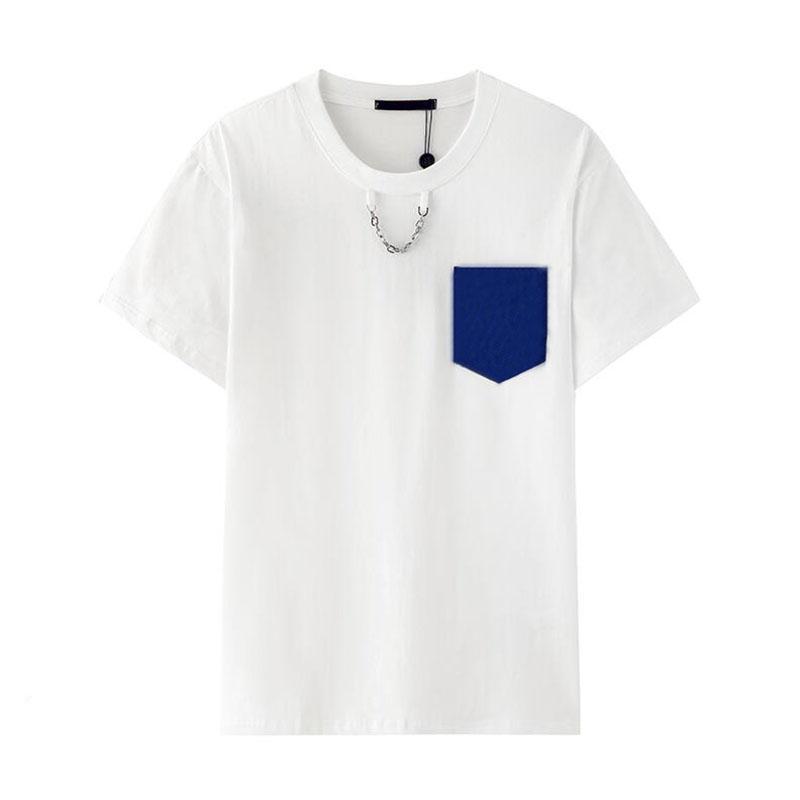 20ss famoso Uomo Abbigliamento vendita calda di alta qualità Bianco manica corta T Shirt Via Metallo decorazione catena Uomini Donne TShirt