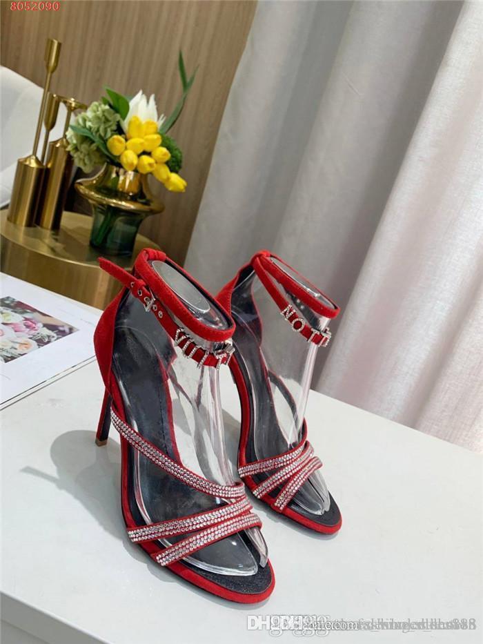Primavera / verão das mulheres novas sandálias de cristal, saltos altos, correia de tiras, combinados com strass e estilete sandálias sensuais embalagem completa