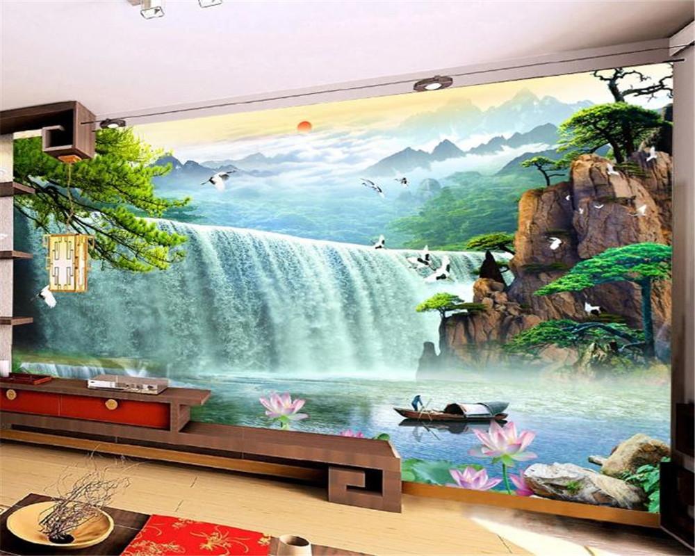 3D Home Wallpaper Großen Wasserfall-Fliegen-Vogel Lotus Schöne Landschaft 3d Dekorative Umweltschutz-Wand-Papier