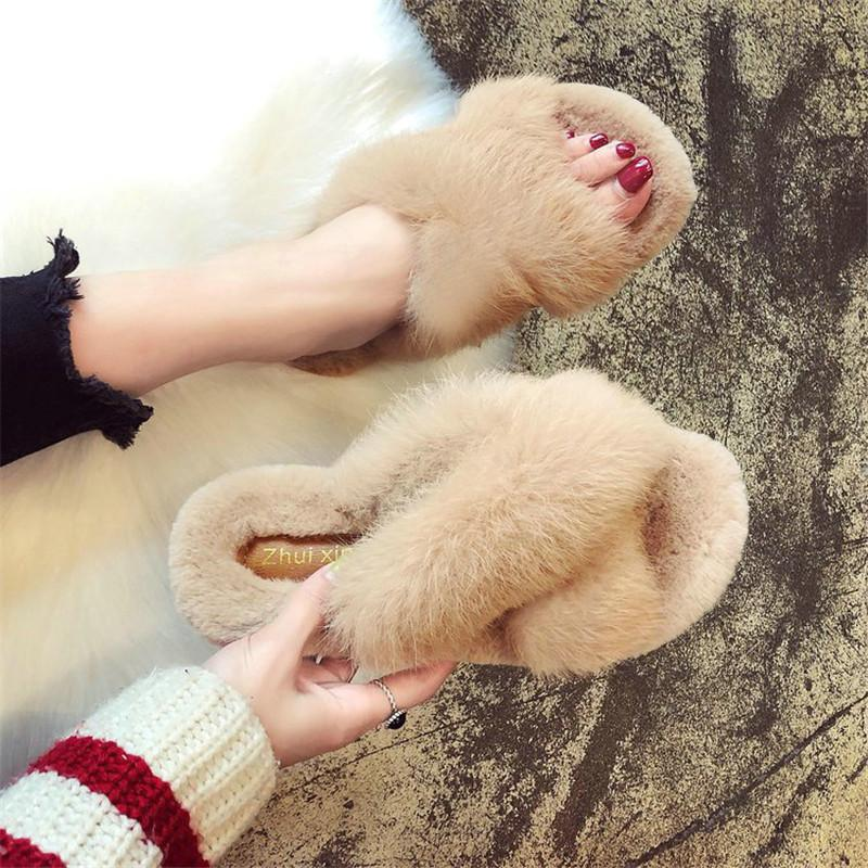 2018 تصميم جديد 100٪ الأرنب الفراء الطبيعي النعال المرأة النسخة الكورية الفراء النعال ارتداء الأزياء الصليب النعال