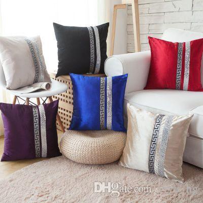 1pcs Luxo Covers Golden Pillow Caso Velvet Sequins almofada para casos de casamento 45x45cm Cama Sofe fronha