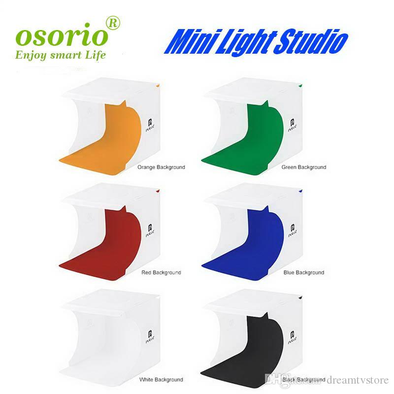 Studio Portable Mini Photographie Cadre pliant studio LED Lumière douce Photographie Table avec Micro USB Câble 6 Couleur Fond Tissu