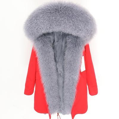 forro de pele marca cinza coelho lona vermelha longa parka Lavish Grey Mongólia pele de ovelha Threshold guarnição maomaokong