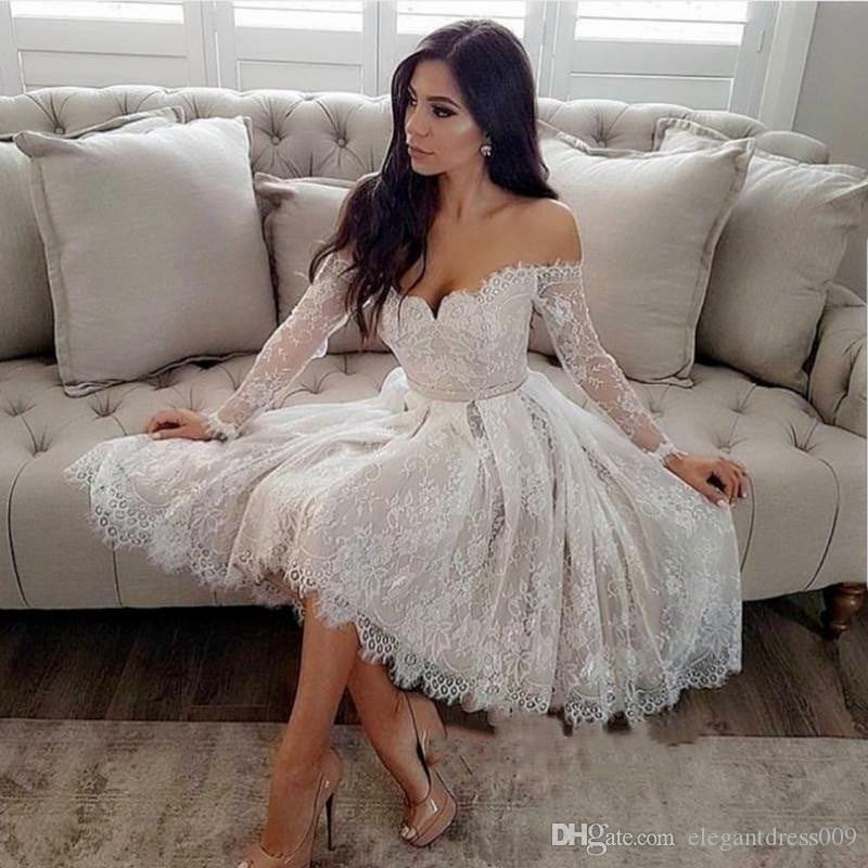 Modest Sheer Long Sleeve Off the Shoulder Cocktail Dress 2019 Lace A Line Short Appliqued Cocktail Party Prom Dresses Homecoming Dresses